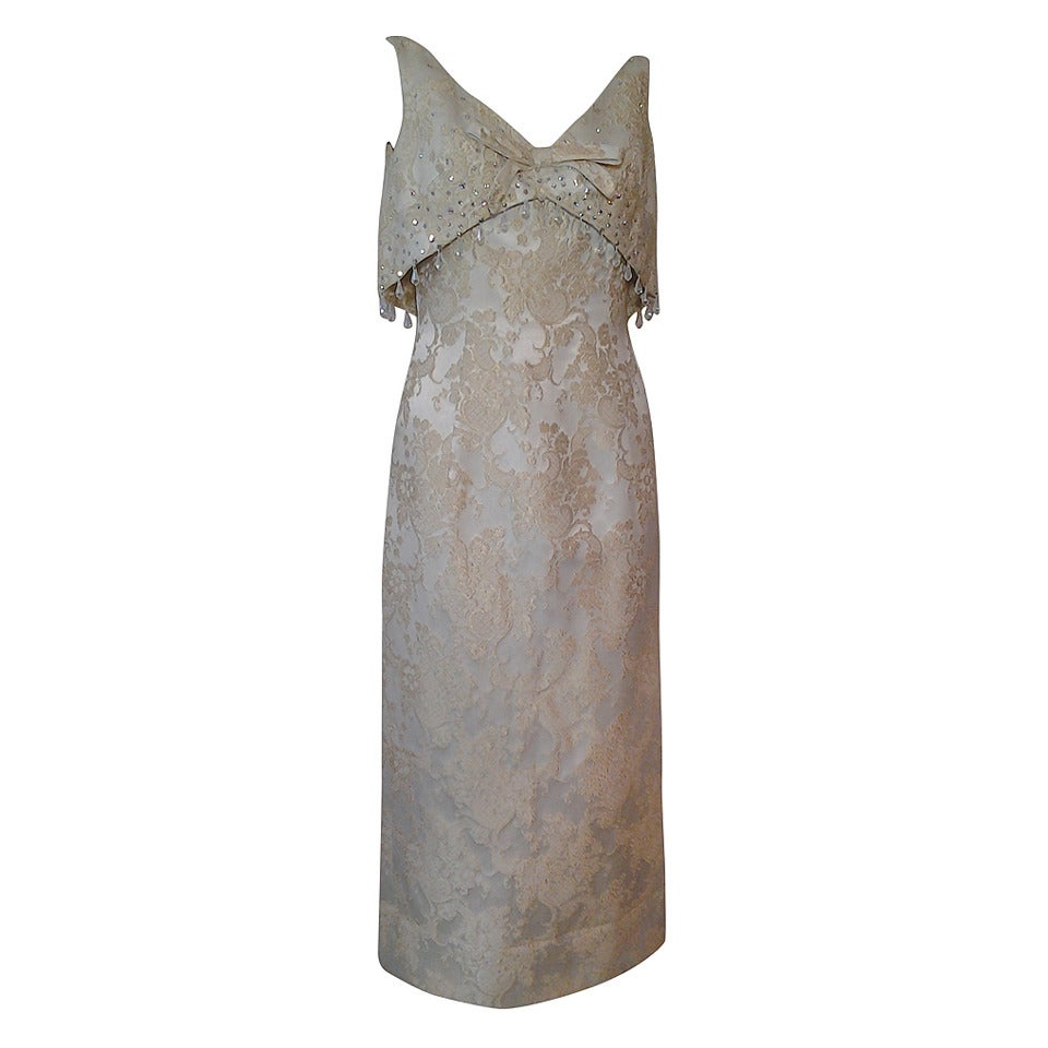 7f16f10744cd 1960s Gold and Cream Brocade Gown with Floating Jeweled Bodice Panel For  Sale