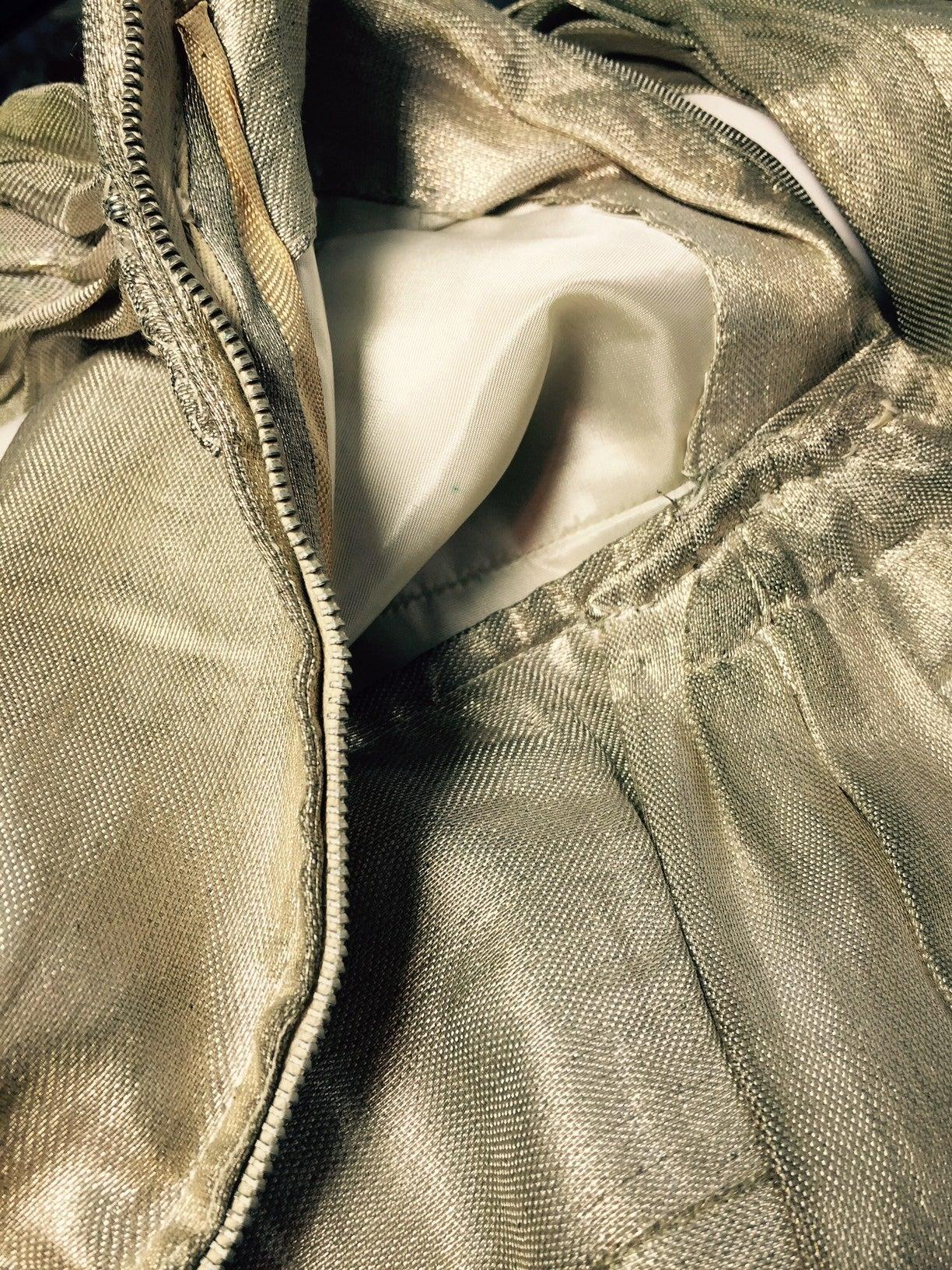 1940s Silver Metal Lame Halter Dress w/ Sarong Draping 6