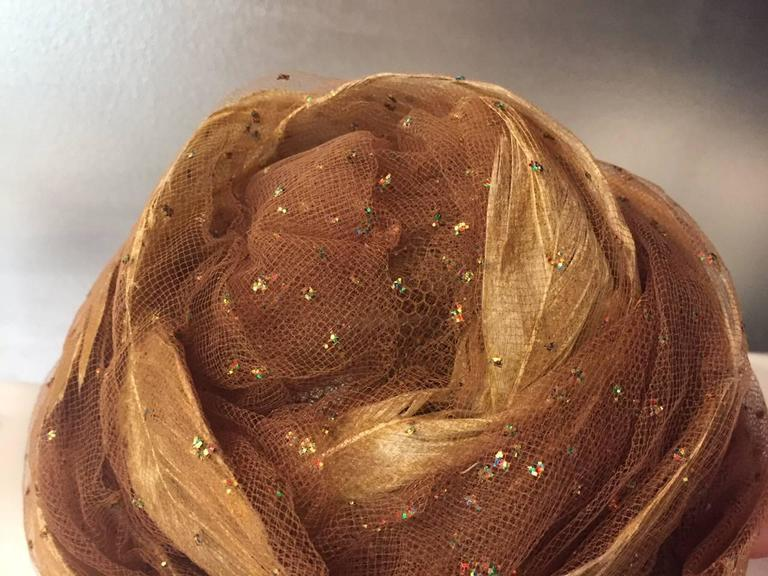 1960s Christian Dior Tulle and Gold Feather Turban w/ Sparkling Glitter 4