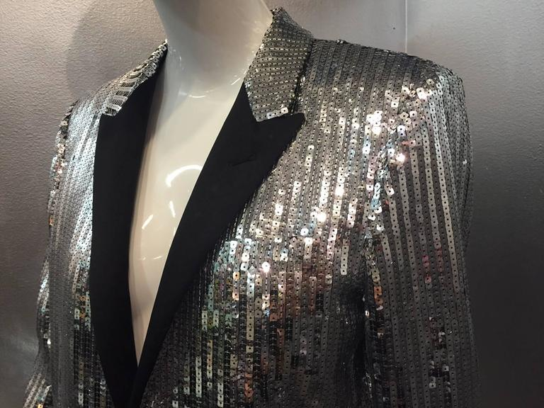 Women's or Men's Saint Laurent Silver Sequin Men's Tuxedo Jacket w/ Satin Lapels For Sale