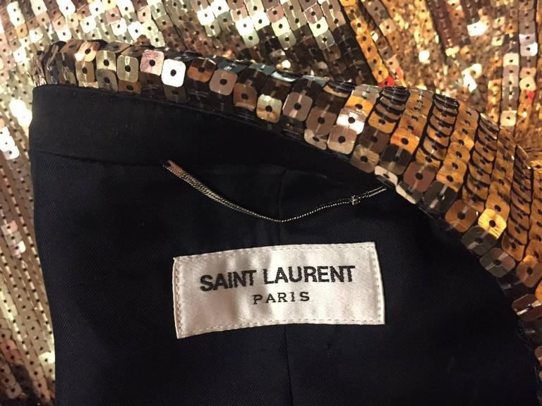 Saint Laurent Men's Gold Sequin Tuxedo Jacket w/ Satin Lapels In New Never_worn Condition For Sale In San Francisco, CA