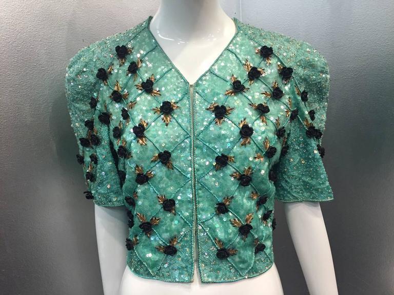 Gray 1980s Carolina Herrera Sea Foam Bead and Sequin Encrusted Bolero w/ Resin Roses For Sale