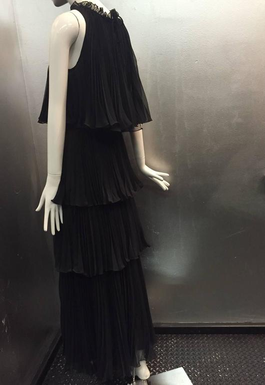 1970s Jean Varon Pleated and Tiered Crepe Chiffon Evening Gown 6