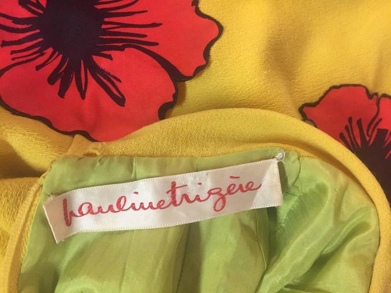 1960s Pauline Trigere Lemon Yellow Trapeze Mini w/ Poppy Appliqués 7