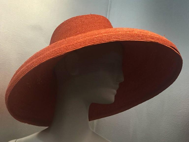 1960s Frank Olive Tangerine Straw Sun Hat w/ Bow Trim 3