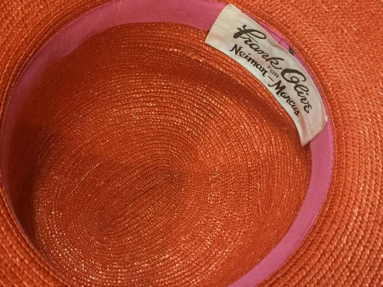 1960s Frank Olive Tangerine Straw Sun Hat w/ Bow Trim 5