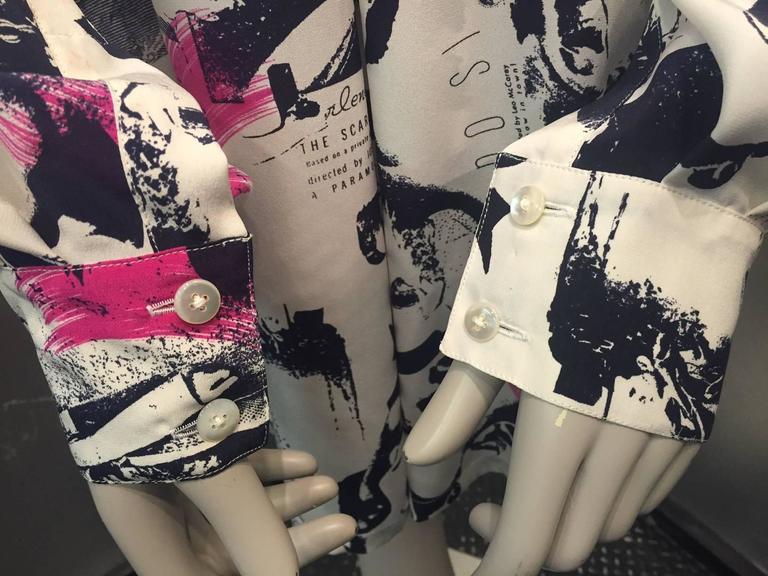 1990s Escada Iconic Movie Star Print Blouse w/ Dietrich! Garbo! Mae West!   For Sale 1