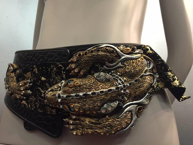 1980s Faux Alligator Sculpted Hip Belt W Large 3