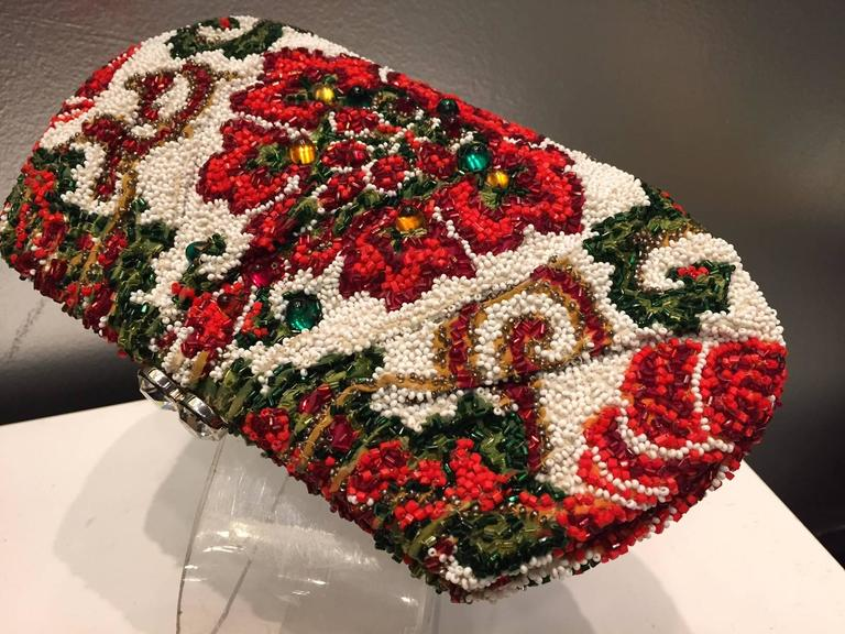 1950s Nettie Rosenstein Stylized Floral Beaded and Stoned Evening Clutch  3