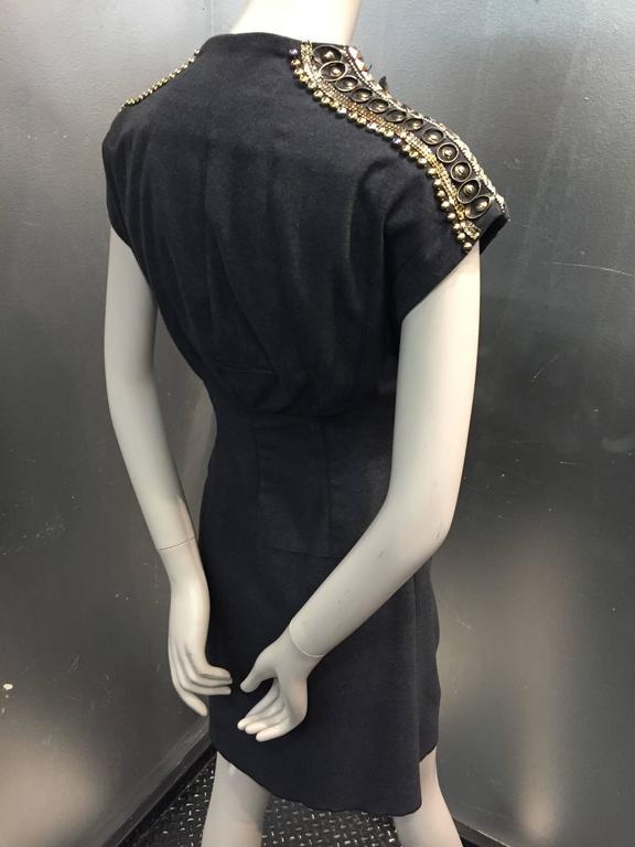 Black Jean Paul Gaultier Gray Flannel Cocktail Dress w/ Studded Zipper Shoulders  For Sale