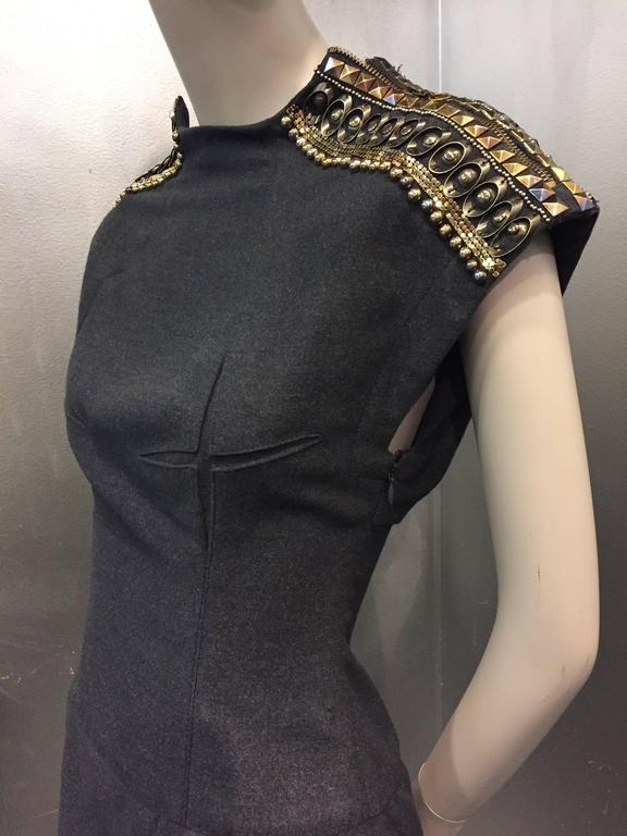 Jean Paul Gaultier Gray Flannel Cocktail Dress w/ Studded Zipper Shoulders  For Sale 1