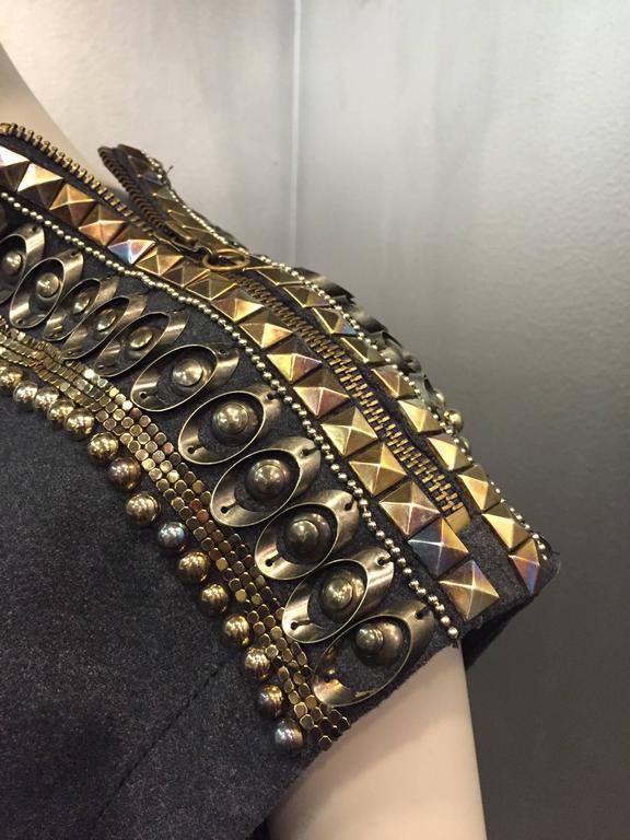 Jean Paul Gaultier Gray Flannel Cocktail Dress w/ Studded Zipper Shoulders  For Sale 2