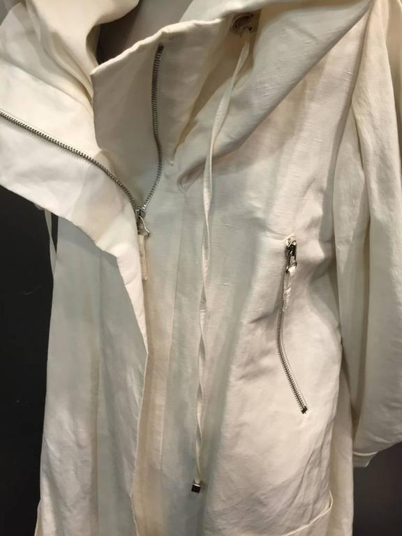 "1980s Christian Lacroix Avant Garde White Canvas ""Butterfly"" Parka In Excellent Condition For Sale In San Francisco, CA"