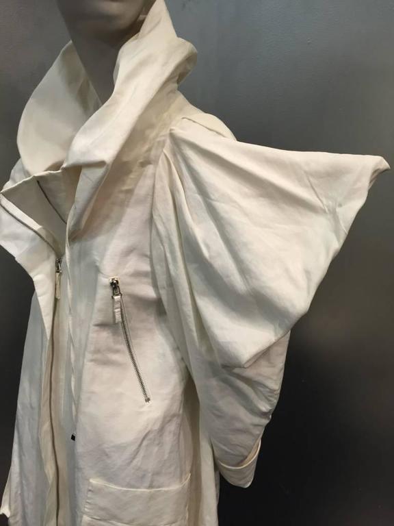 "1980s Christian Lacroix Avant Garde White Canvas ""Butterfly"" Parka 6"