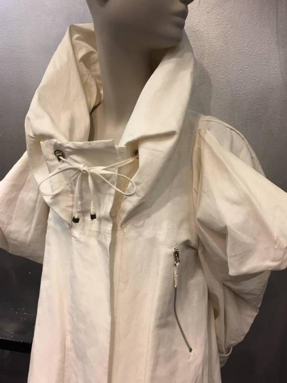 "Gray 1980s Christian Lacroix Avant Garde White Canvas ""Butterfly"" Parka For Sale"