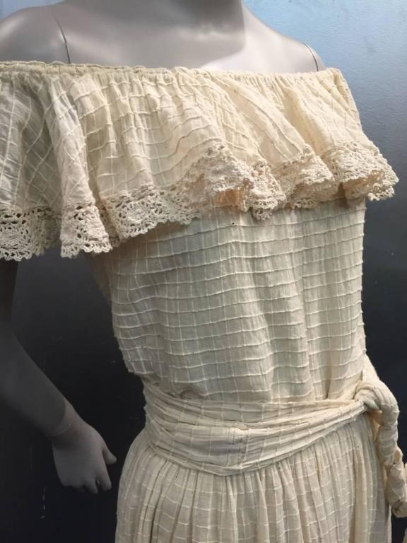 1960s Oscar De La Renta Three-Piece Cotton Lace and Silk Ruffled Sundress  3