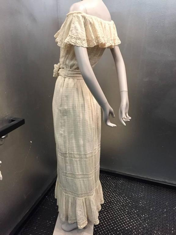 1960s Oscar De La Renta Three-Piece Cotton Lace and Silk Ruffled Sundress  4