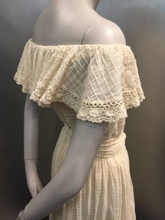 1960s Oscar De La Renta Three-Piece Cotton Lace and Silk Ruffled Sundress  8