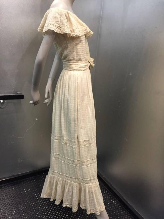 1960s Oscar De La Renta Three-Piece Cotton Lace and Silk Ruffled Sundress  5