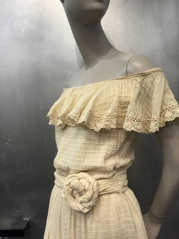 1960s Oscar De La Renta Three-Piece Cotton Lace and Silk Ruffled Sundress  6