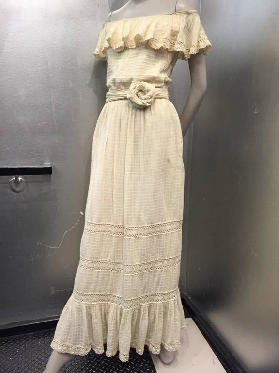1960s Oscar De La Renta Three-Piece Cotton Lace and Silk Ruffled Sundress  7