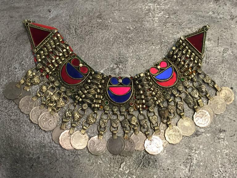 Anglo-Indian Ethnic Coin Bib Necklace w Tinted Mirror Tile Inlay For Sale