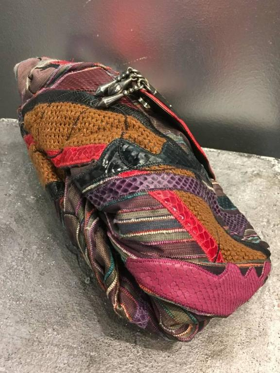 1980s Sharif Multicolored Brocade Clutch Bag w Snakeskin Appliqués  In Excellent Condition For Sale In San Francisco, CA