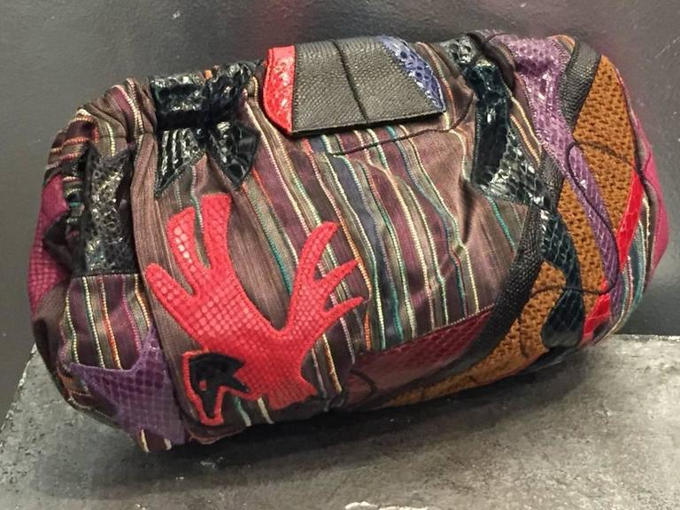 Women's or Men's 1980s Sharif Multicolored Brocade Clutch Bag w Snakeskin Appliqués  For Sale