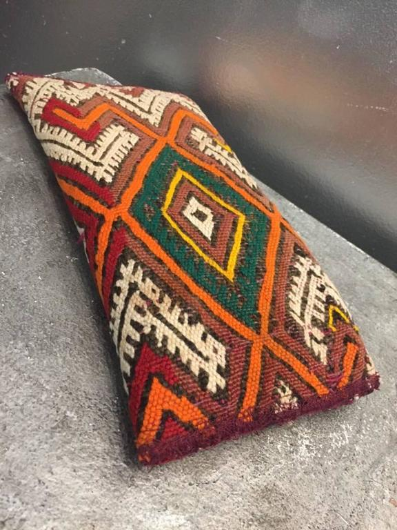Brown Moroccan Antique Textile Clutch  For Sale