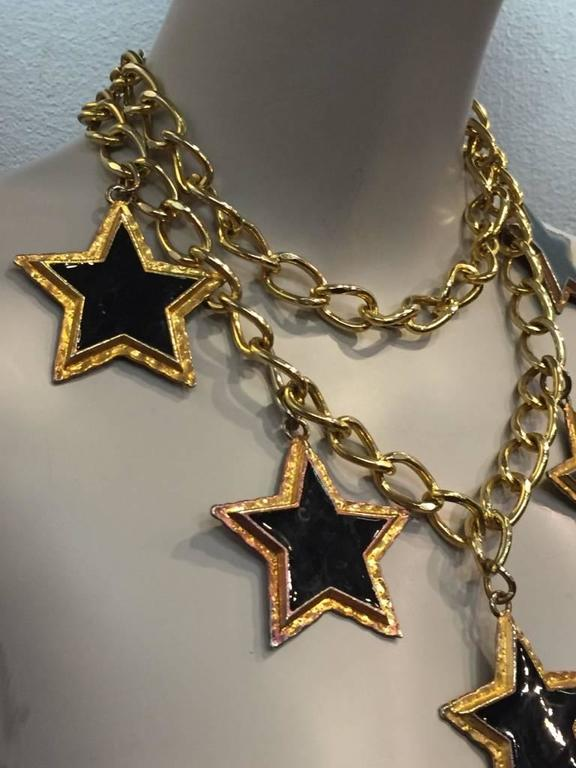 Escada 1980s Dramatic Black Enameled Star and Chain Necklace or Belt 2