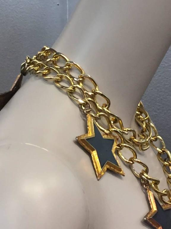 Escada 1980s Dramatic Black Enameled Star and Chain Necklace or Belt 4