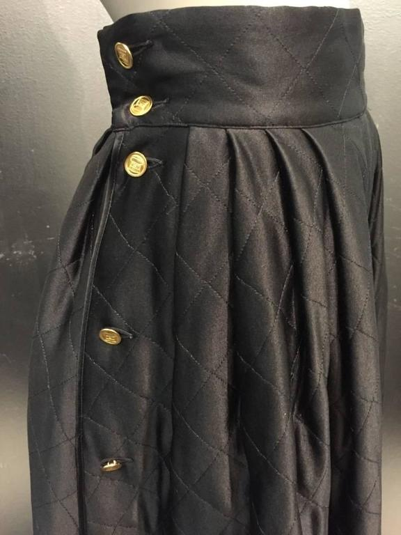 "Black 1980s Chanel Quilted Silk Satin Full Skirt with ""Handbag"" Buttons For Sale"