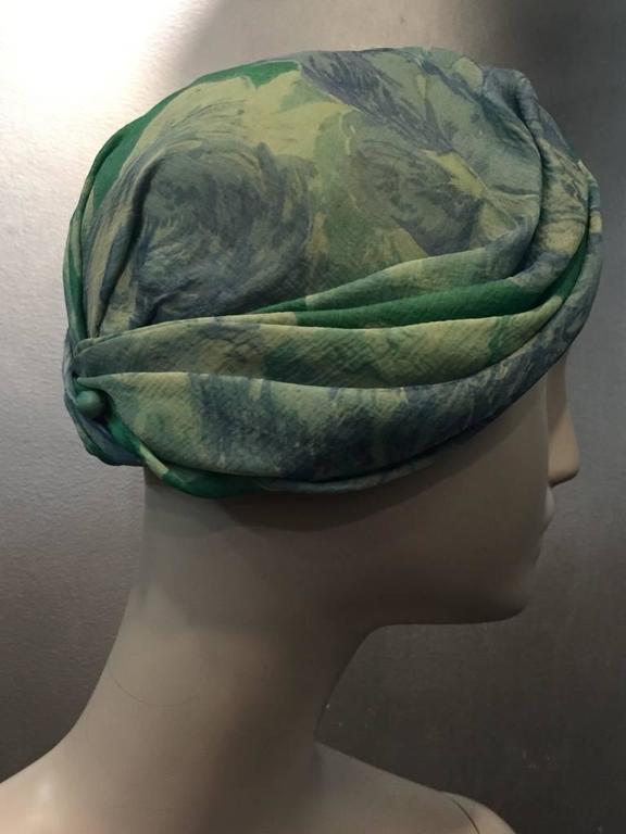 1950s Christian Dior Floral Silk Chiffon Turban Hat 3