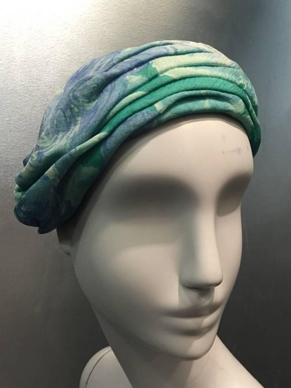 1950s Christian Dior Floral Silk Chiffon Turban Hat 2