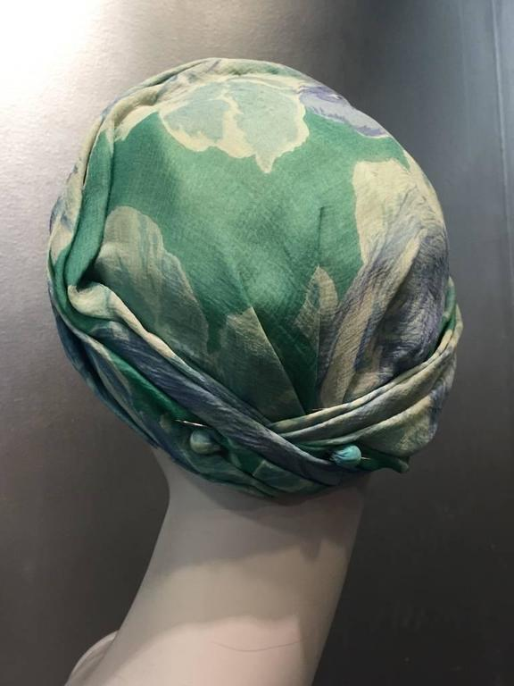 1950s Christian Dior Floral Silk Chiffon Turban Hat 4