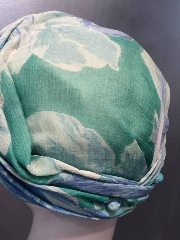 1950s Christian Dior Floral Silk Chiffon Turban Hat 5