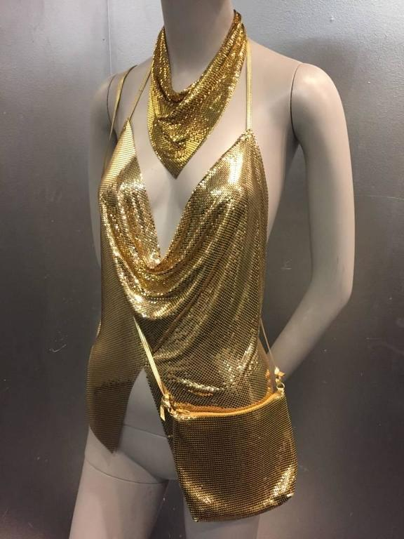 1980s Whiting and Davis Gold Chain Mail Set:  Halter Top, Necklace and Purse 6