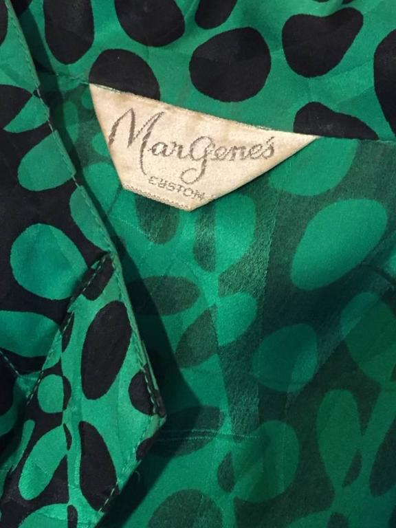 1980s Emerald and Black Elipse Print Tiered Button-Down Dress  For Sale 5
