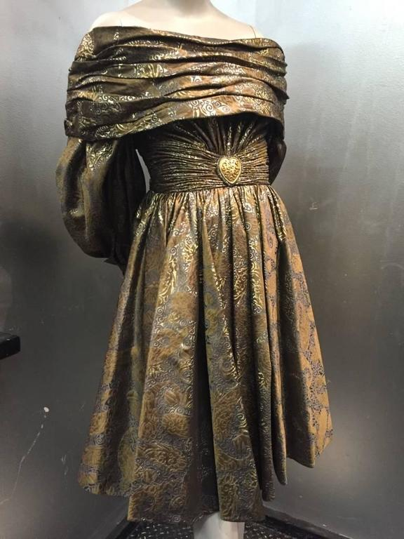 1980s Michael Casey Pewter and Copper Brocade Portrait Collar Cocktail Dress 2