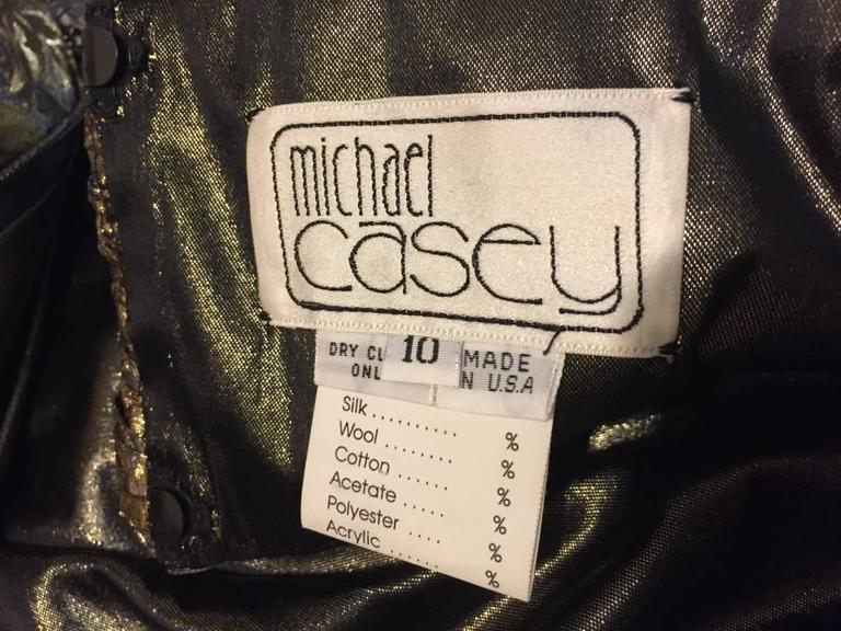 1980s Michael Casey Pewter and Copper Brocade Portrait Collar Cocktail Dress 10
