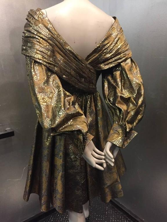 1980s Michael Casey Pewter and Copper Brocade Portrait Collar Cocktail Dress 6