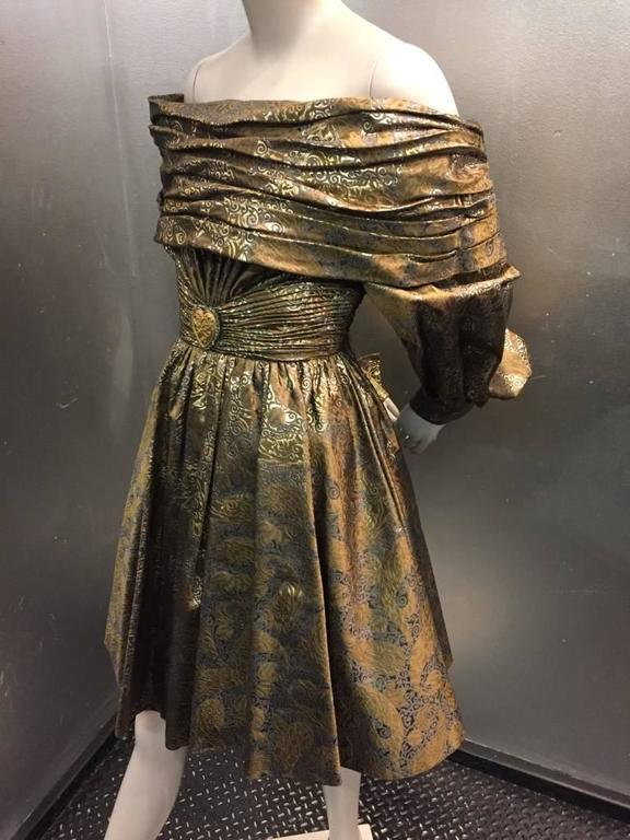 1980s Michael Casey Pewter and Copper Brocade Portrait Collar Cocktail Dress 4