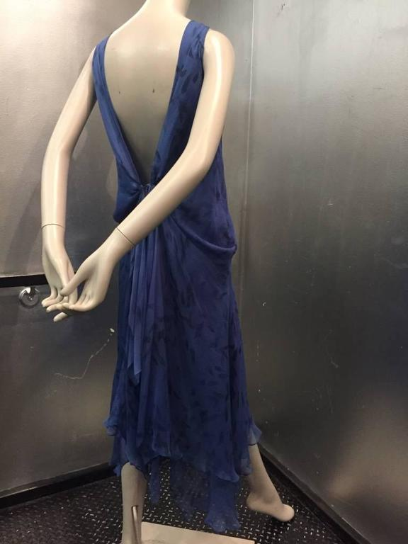 Donna Karan Cobalt and Royal Blue Silk Chiffon Slip Dress In New Never_worn Condition For Sale In San Francisco, CA