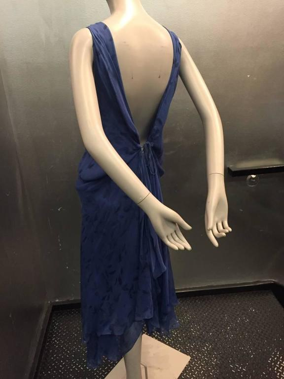 Donna Karan Cobalt and Royal Blue Silk Chiffon Slip Dress For Sale 1