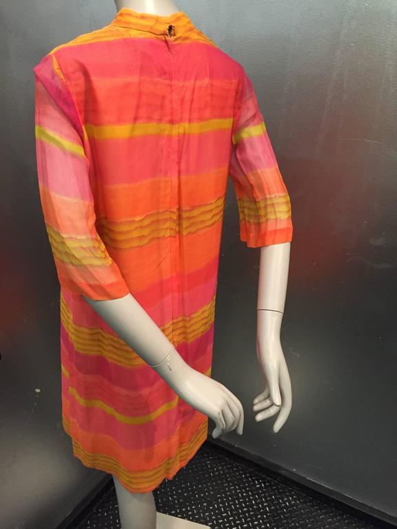 Women's 1960s Vibrant Stripe Silk Chiffon Tunic Dress in Orange, Gold and Fuchsia For Sale