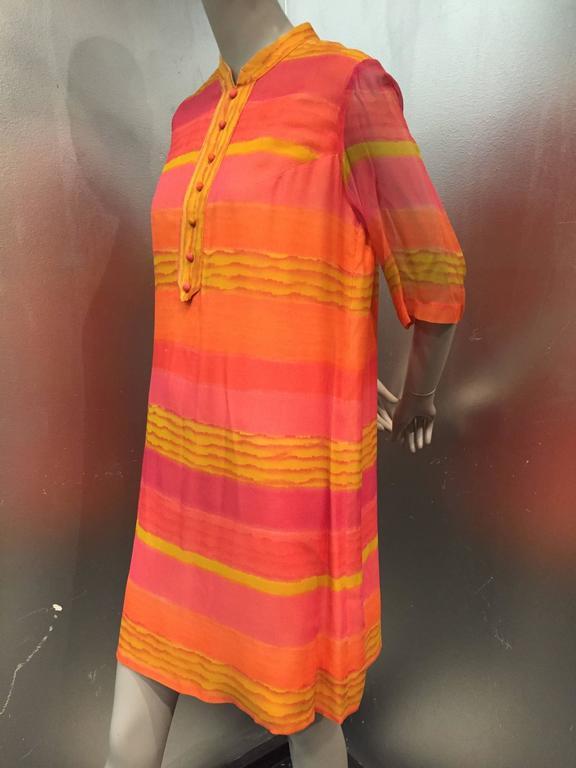 Red 1960s Vibrant Stripe Silk Chiffon Tunic Dress in Orange, Gold and Fuchsia For Sale