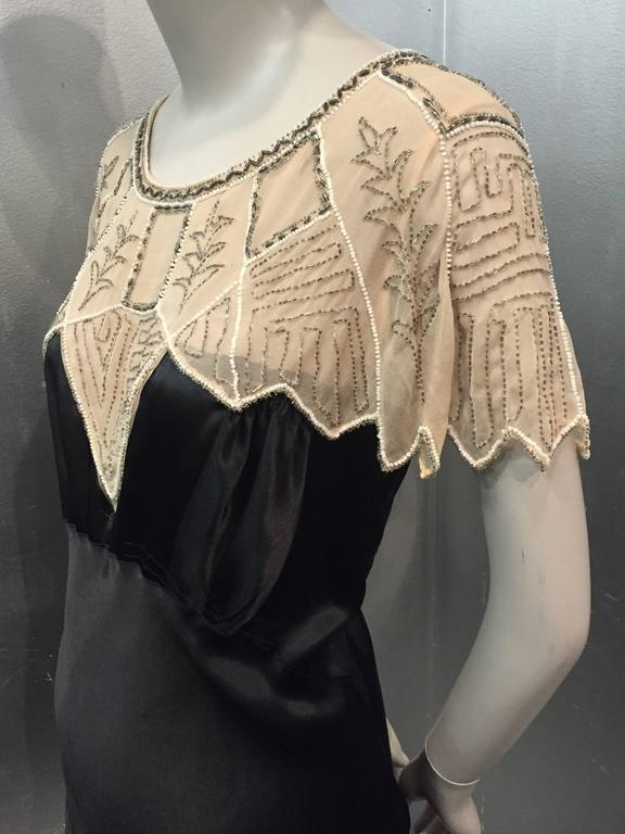 1920s Art Deco Black Silk Satin Gatsby-Style Dress w Beaded Caplet 2