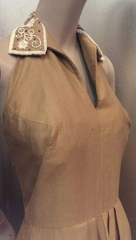 1950s Taupe Cotton Twill Halter Dress w Beaded Collar and Matching Bolero 2