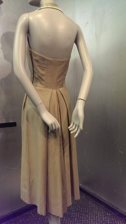 1950s Taupe Cotton Twill Halter Dress w Beaded Collar and Matching Bolero 3