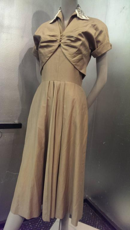 1950s Taupe Cotton Twill Halter Dress w Beaded Collar and Matching Bolero 5